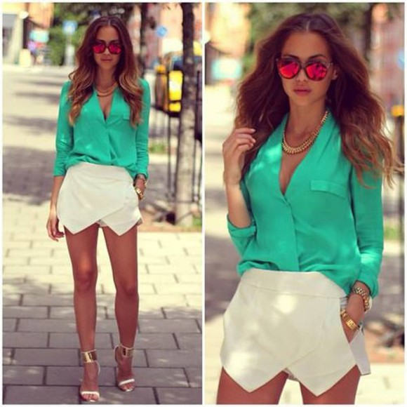 green blouse shoes ankle wrap sandals blouse shorts turquoise skort white shorts sunglasses jewels shorts–skirt pretty summer white shirt clothes short outwear cateye sunglasses mirror sunglasses skirt
