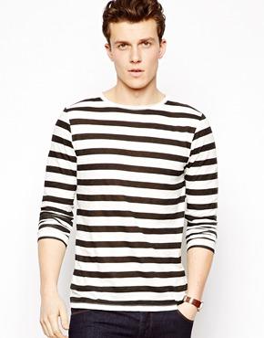 ASOS | ASOS Stripe Long Sleeve T-Shirt With Raw Edge And Slub Fabric at ASOS