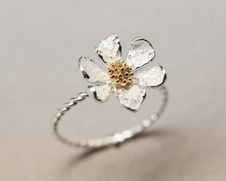 jewels flowers ring flower ring daisy gold silver