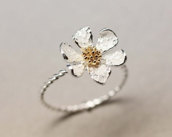 jewels daisy floral ring flower ring gold silver