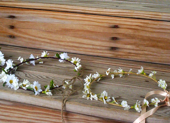 Country bride headwreath daisy flower crown wedding by amorebride