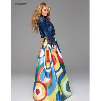 skirt colorful editorial paris hilton maxi skirt denim jacket jacket