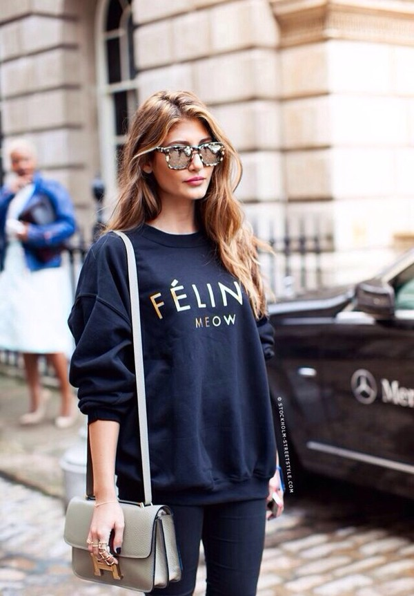sweater black gold cats meow tumblr sunglasses