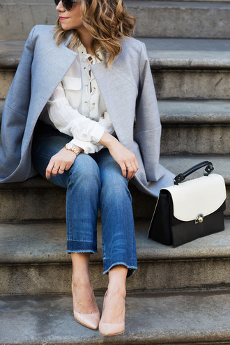 the corporate catwalk blogger blue coat cropped jeans nude heels lace up top white blouse frayed denim