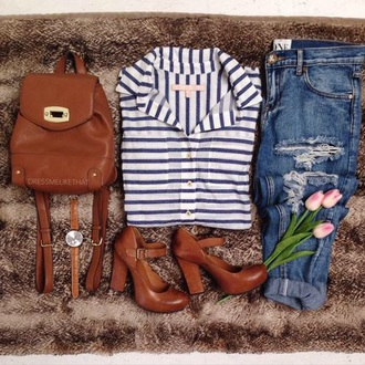 blouse blue and white striped top