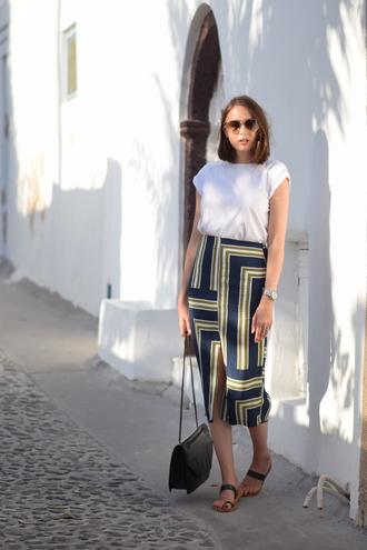 shot from the street blogger high waisted skirt geometric slit skirt