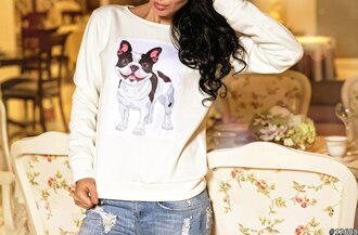 pugs dog white sweater printed sweater