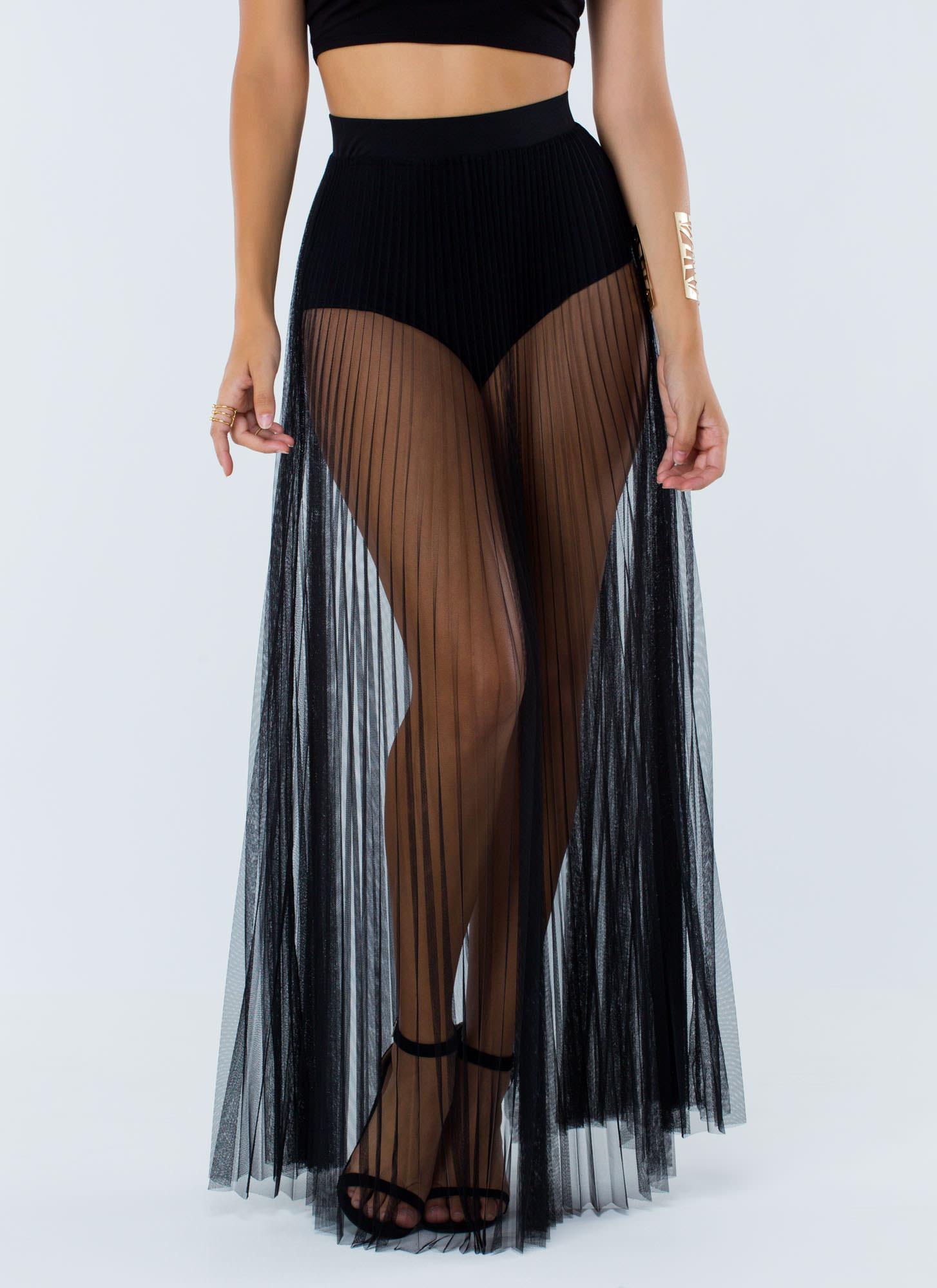 Pleats To Meet U Sheer Maxi Skirt Gojane Com