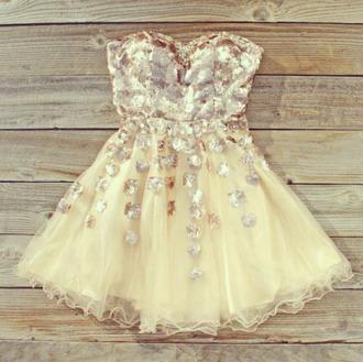 dress cream glitter party dress elegant pretty tumblr bronze perfect formal semi prom dress rhinestones