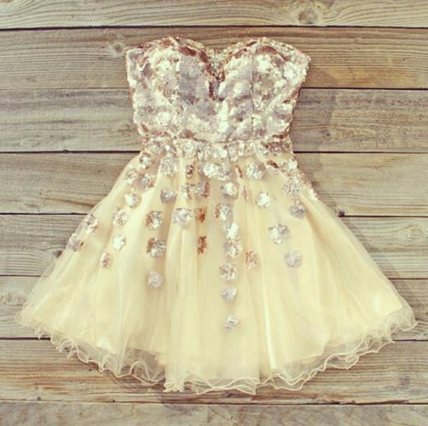 dress cream glitter party dress elegant pretty tumblr instagram bronze ...