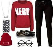 sweater,red,nerd,jeans,jewels,vans?,shirt,obey,black high waisted pants,nerd glasses,phone cover,hat,shoes,pants,beanie,glasses,iphone cover