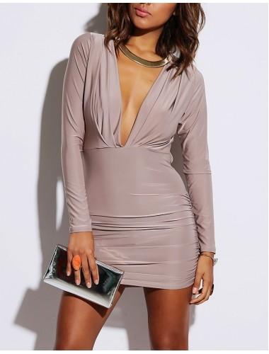 Mocha Long Sleeve Ruched Dress | Clothing | Womens Clothing, Shoes, Jewelry & Plus Sizes | B. De'Lish