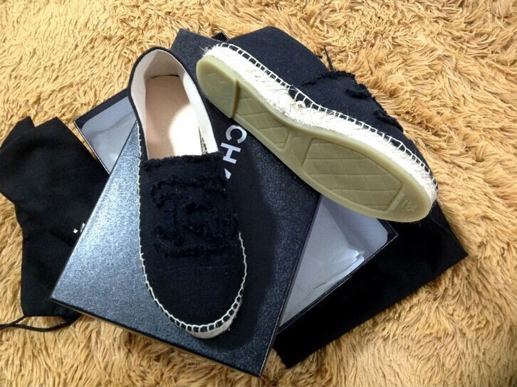 fashion chanel canvas espadrilles shoes black chanel