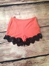 coral shorts,High waisted shorts,hi waist,floral applique,www.ustrendy.com