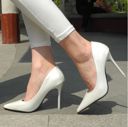New 2014 women's pumps sexy pointed toe 12 cm thin high heel women's white bridal high heels pumps