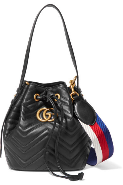 gucci quilted bag bucket bag leather black