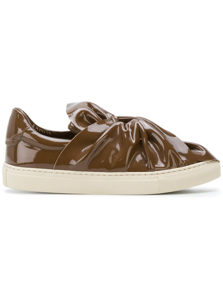 PORTS bow women sneakers leather brown shoes