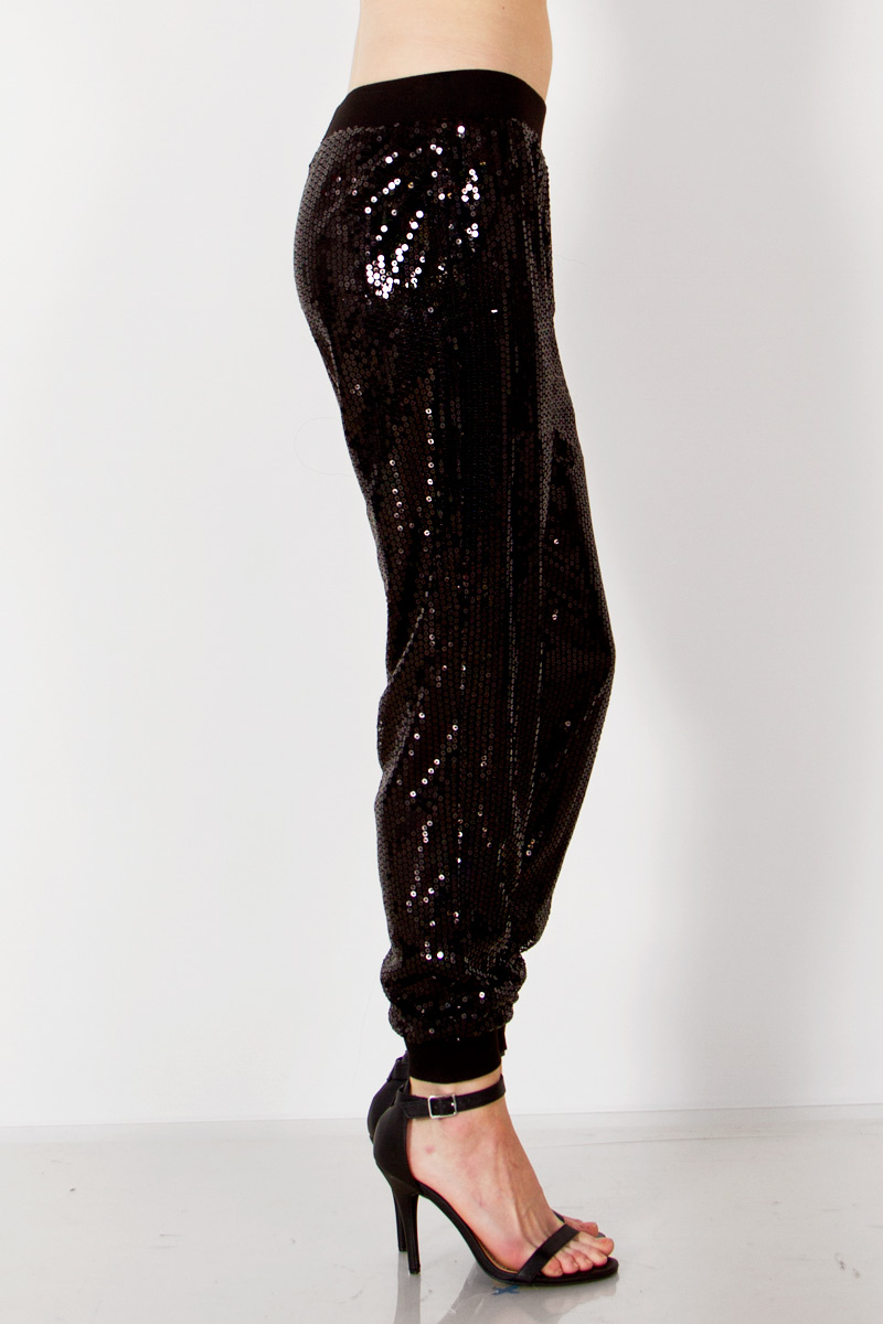 Black sequin jogger pants · trendyish · online store powered by storenvy