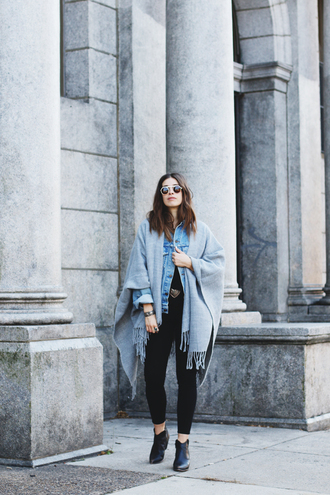 orchid grey blogger blanket scarf denim jacket black boots