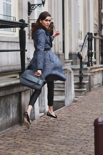 style scrapbook blogger grey coat winter coat bag cropped pants pants coat