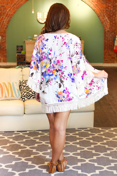 Floral Fringe Kimino | uoionline.com: Women's Clothing Boutique