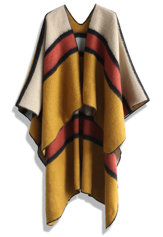 cardigan funky striped mustard blanket cape chicwish cape