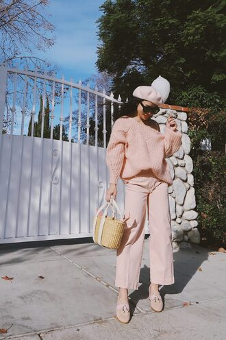 hallie daily blogger sweater jeans shoes bag sunglasses jewels beret basket bag pink pants pink sweater loafers