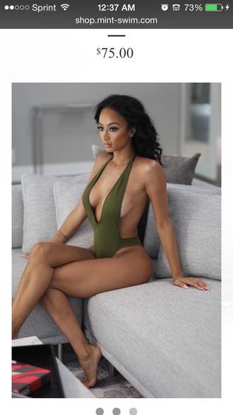 swimwear sexy bikini olive green