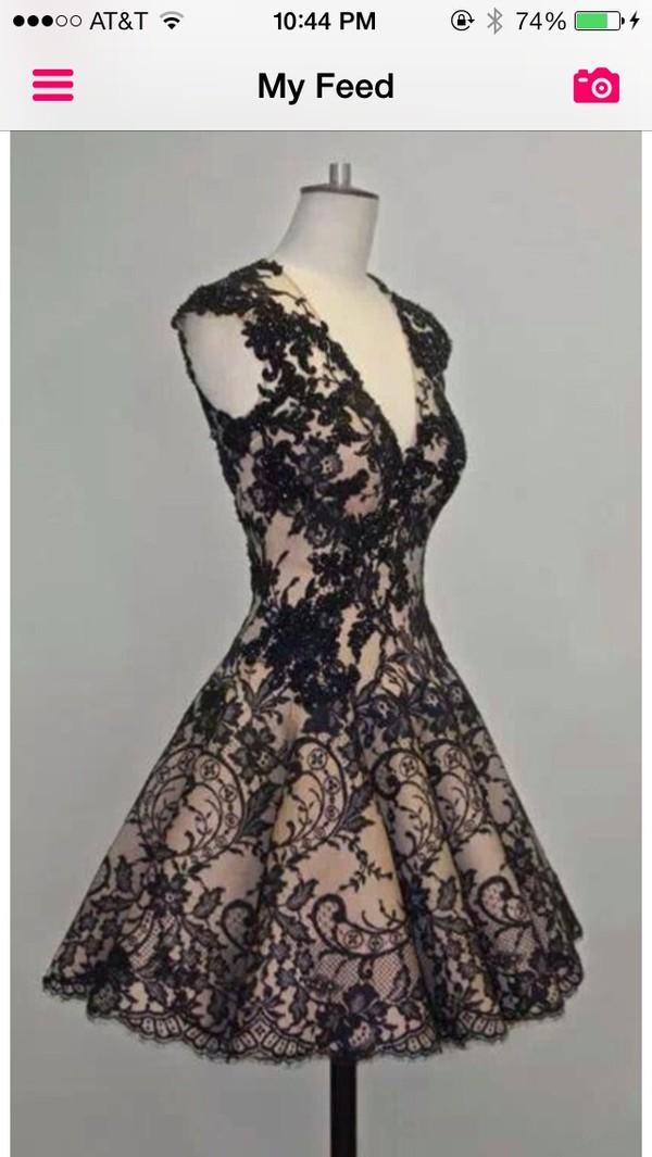 dress black nude little black dress little black dress cute hot lace classy chic v neck a line skater