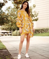 dress,yellow,mini dress,floral dress,floral,shoes,white shoes,yellow dress,spring outfits
