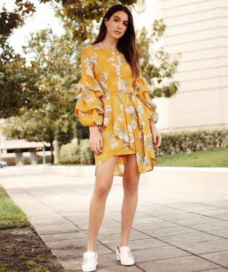 dress yellow mini dress floral dress floral shoes white shoes yellow dress spring outfits