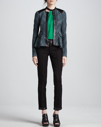 Nanette Lepore Casablanca Plaid Flare Jacket, Spicy Sahara Silk Blouse & Fly Away Leather-Trim Pants - Neiman Marcus