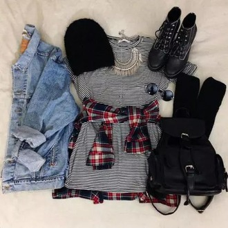 dress grunge stripes black and white boots jewels fall outfits weheartit hipster boho shoes
