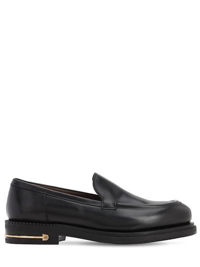 SALVATORE FERRAGAMO Teeth 3 Calfskin Leather Loafers Black