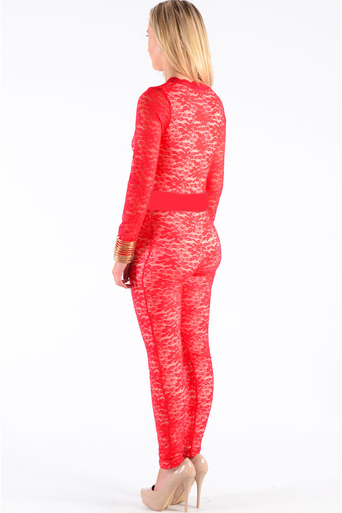 Casper Lace Flower Print Overlay Jumpsuit In Red - Pop Couture