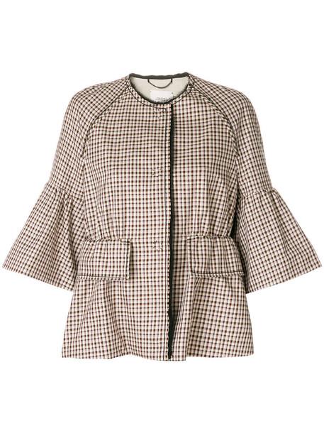 Dorothee Schumacher jacket plaid jacket cropped women plaid cotton