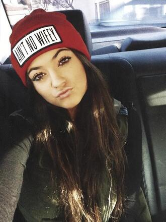 hat beanie ain't no wifey jacket red tank top hot kylie jenner top vest fall outfits red beanie winter outfits dope wishlist blouse khaki coat army green jacket khaki coat short sleeve bonnet veste cute