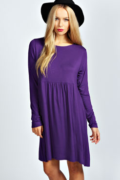 Miranda Long Sleeve Smock Dress at boohoo.com