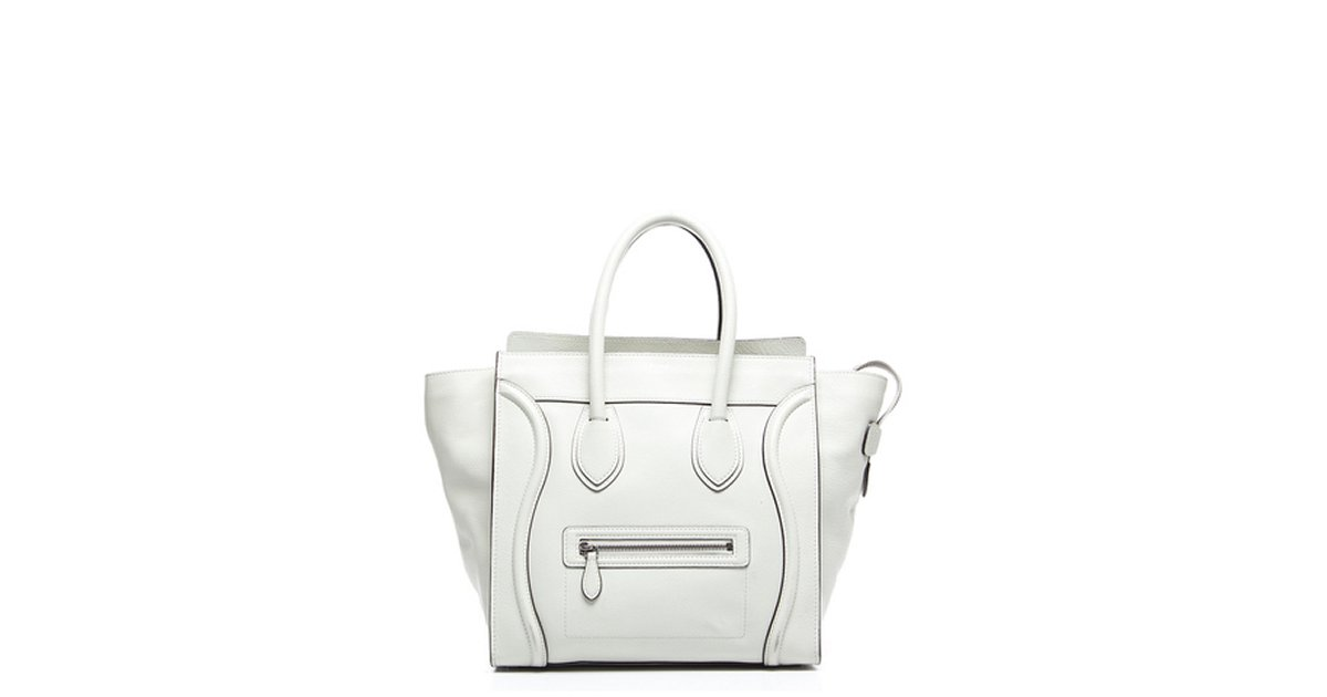 Celine Pre-Owned Celine White Drummed Leather Mini Luggage Tote ... a416c79d4ead3