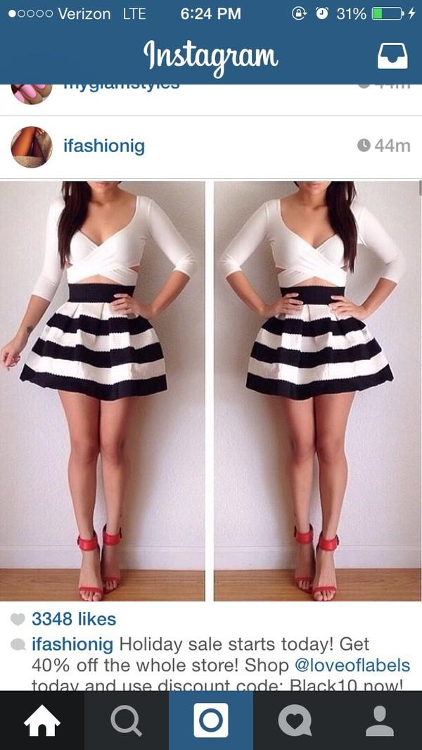 fa85c66df Black White Wide Striped Bandage Skater Skirt 2 Tone Bell Flared ...