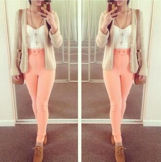 pants cardigan pink oxfords purse necklace half shirt crop tops