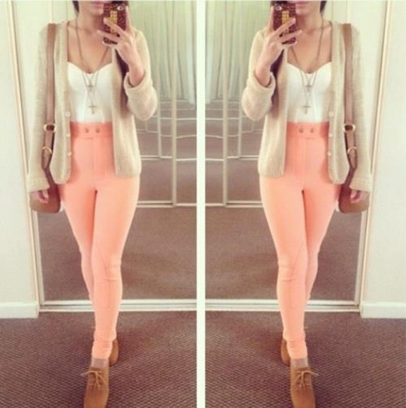 pants oxfords cardigan pink purses necklace half shirt crop tops