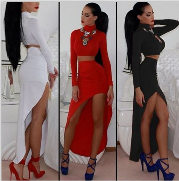skirt slit skirt maxi skirt sexy dress high neck crop thin waist fitted bodycon dress little black dress white dress crop top and skirt red dress ebony lace ebonylace-streetfashion