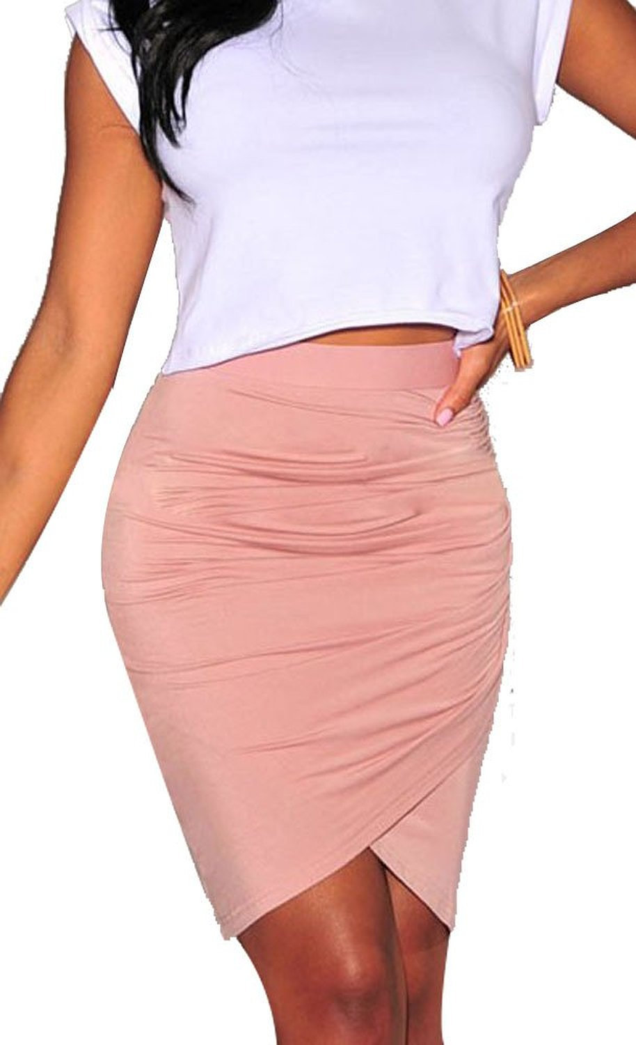Lover women's drapped mini skirt (pink): clothing