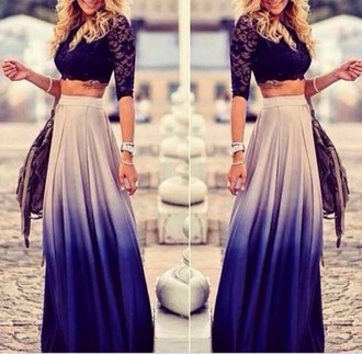 maxi skirt ombé skirt vintage