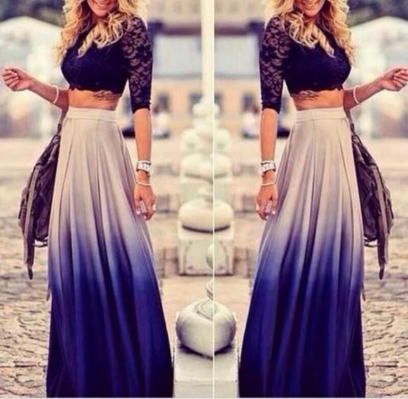 vintage ombé skirt maxi skirt
