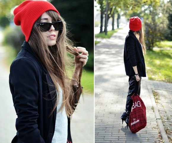 sunglasses rayban bag hat red beanie beanie