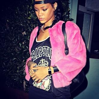 rihanna faux fur jacket swag pink