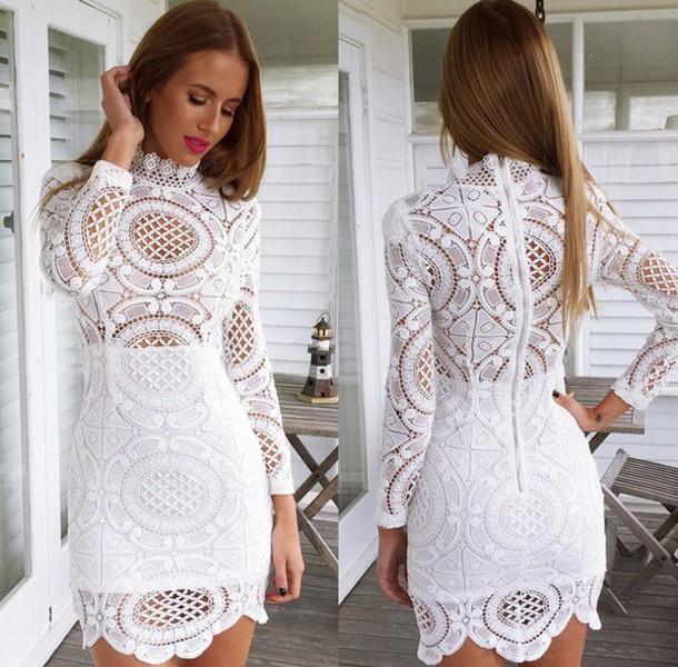 White long sleeve lace mini dress