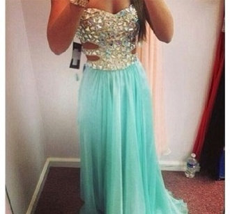 dress turquoise dress bling dress cut out dress long prom dress prom dress maxi dress